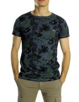 Camiseta Fifty Four Estampado Hojas Azul