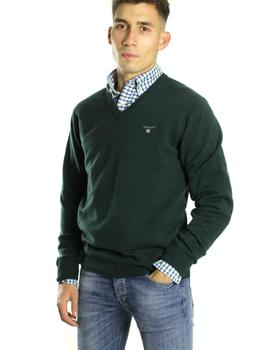 Jersey Gant Pico Lambswool Fino Verde Oscuro