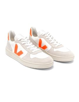 Zapatillas Veja V-10 B Mesh White Natural Orange Fluo